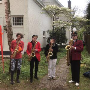 Saxofoonkwartet Blovi op Koningsdag
